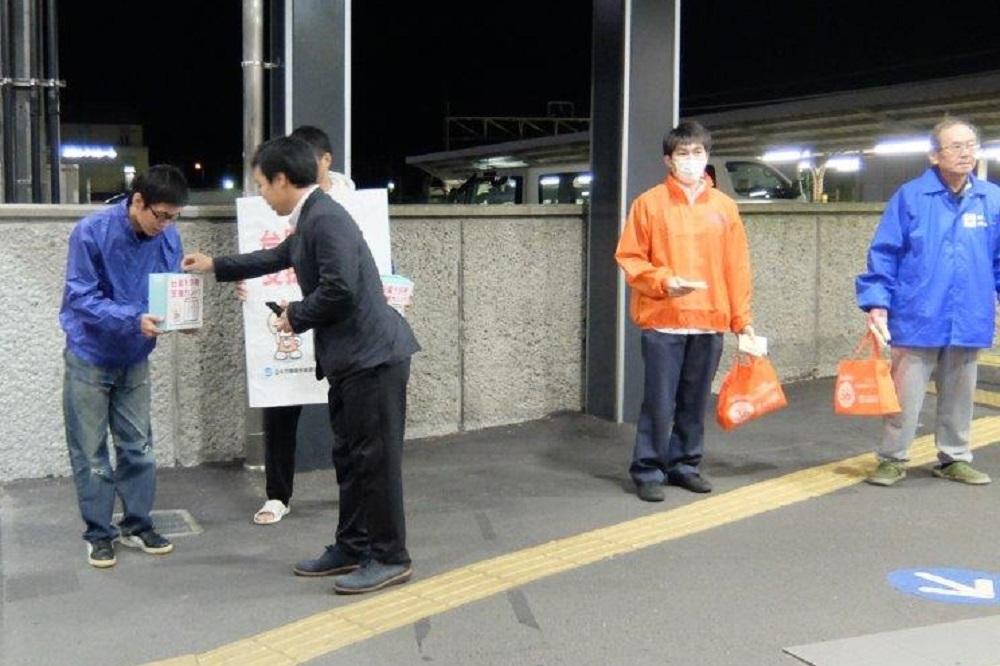 台風19号支援カンパ募金活動の様子