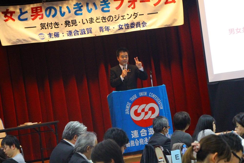組合員に講演する三日月大造滋賀県知事