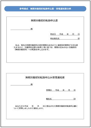 無期労働契約への申込,参考様式