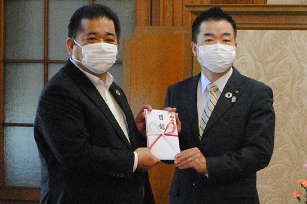 連合滋賀,労働組合,滋賀県,三日月大造滋賀県知事,柿迫博連合滋賀会長,寄付,新型コロナウイルス感染症