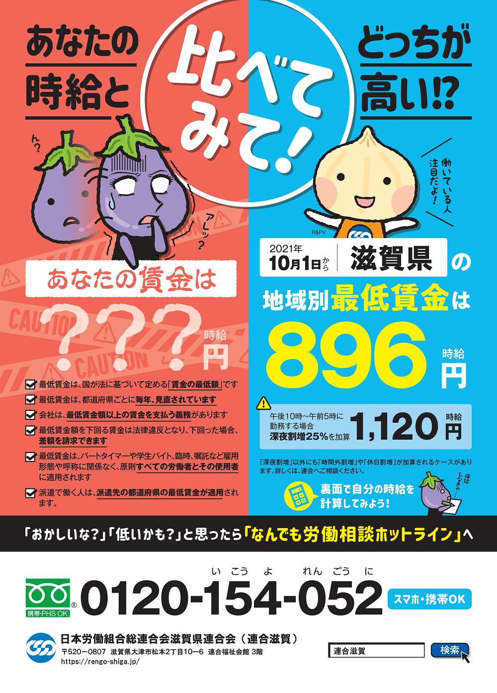 2021滋賀県最低賃金,2021滋賀県最賃最賃,896円